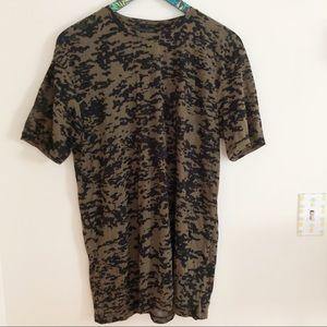 Zara Man Fatigued Camo Short Sleeve Shirt Large